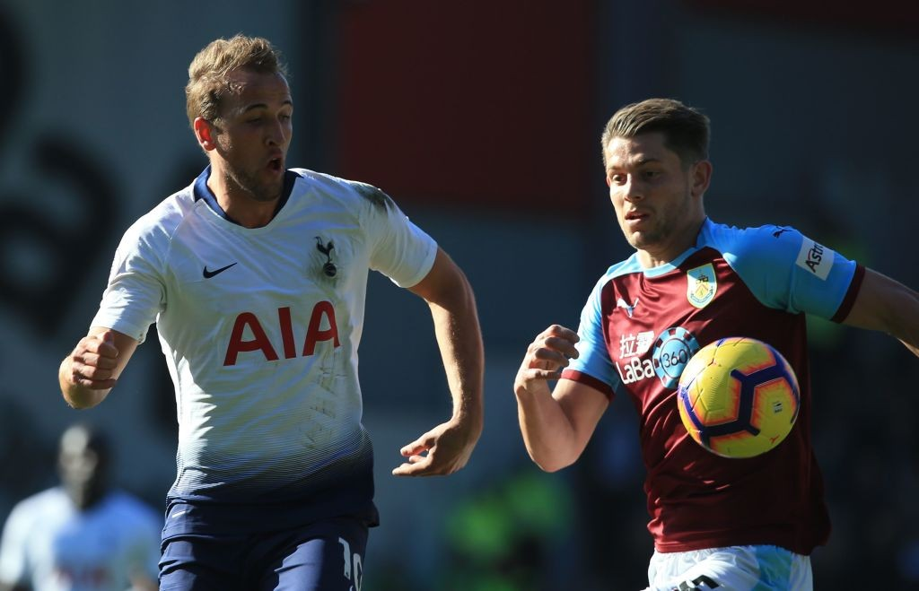 Harry Kane vies with Burnley defender James Tarkowski