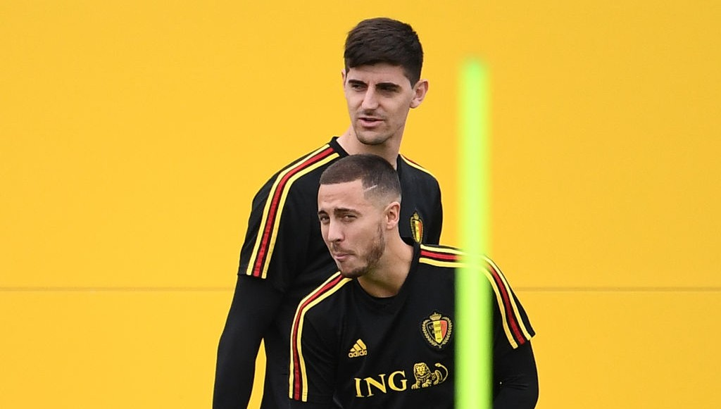 Thibaut Courtois in Belgium training with Eden Hazard