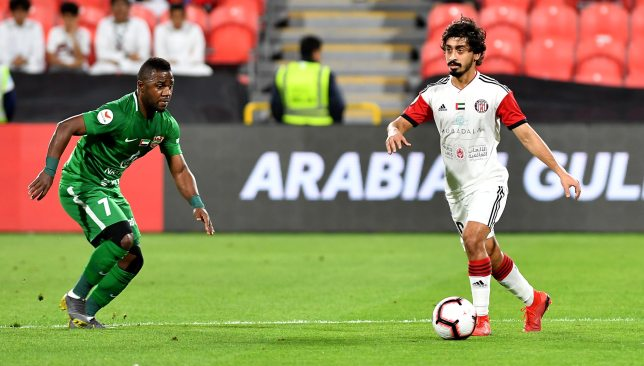 UAE internationals Ismail Al Hammadi (l) and Khalfan Mubarak in action for Shabab Al Ahli and Al Jazira.