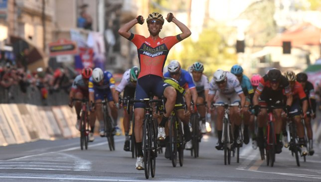 Nibali pumps his fists in triumph after winning the Milan-San Remo last season.