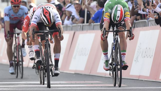Gaviria is looking forward to going head to head with former Quick-Step team-mate Elia Viviani (r).