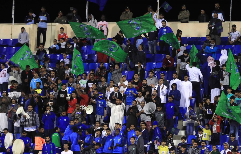 Al-Fateh fans celebrate against Al Ahli Jeddah (epa).