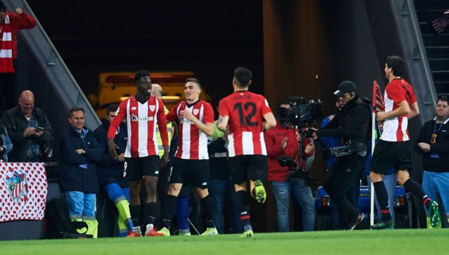 Inaki Williams celebrates with his Bilbao team-mates