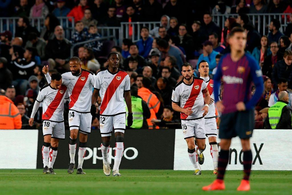 Rayo Vallecano's players celebrate