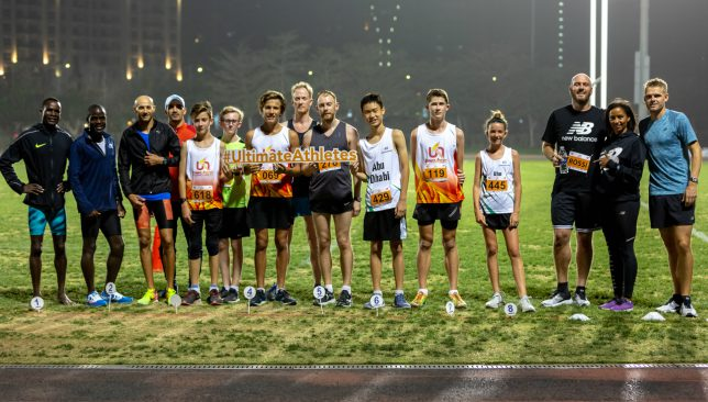 Athletes after the 3k run at Ultimate Athletics Racenight in Dubai along with 'Big Rossi'. Image: Melissa@melissalear.com