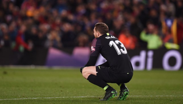 A dejected Jan Oblak after defeat to Barcelona