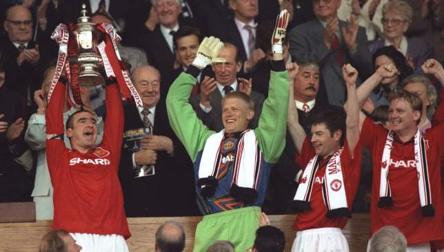 The 1995/96 season - United won the double, including lifting the FA Cup against Liverpool here at the old Wembley - was the last time four United players scored double figures in the league.