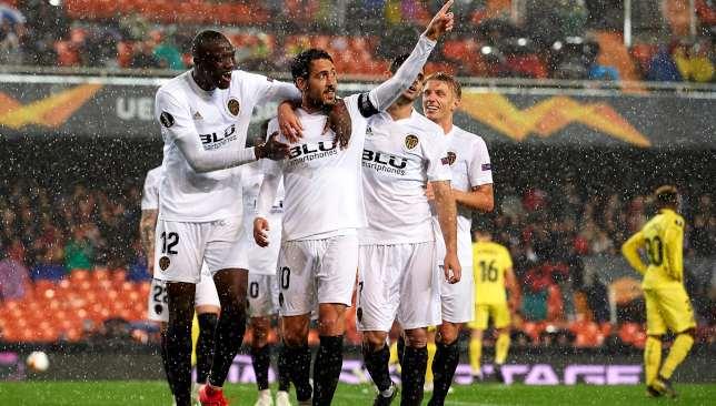 Dani Parejo celebrates his goal.
