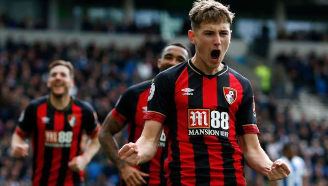 David Brooks celebrates his goal for Bournemouth.
