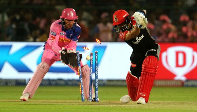 Virat Kohli was clean bowled. Image: BCCI/SPORTZPICS.