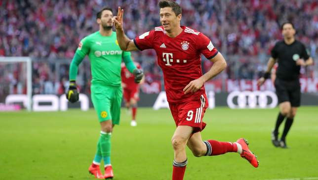 Lewandowski scored his 13th goal against his old club.