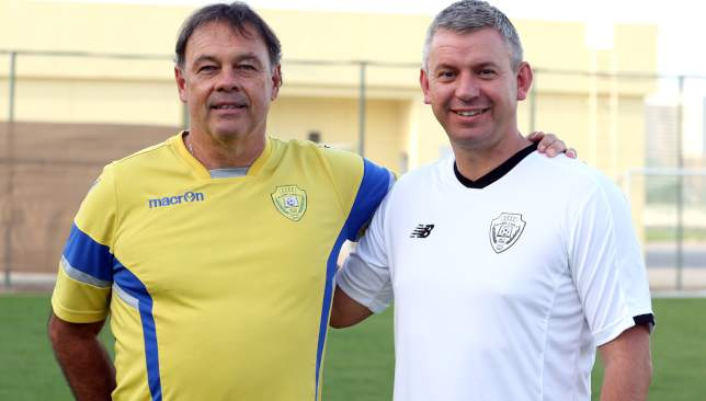 Michel Mommertz (l), technical director at Al Wasl Academy FC and Tommy Wingrove, technical director at IFA.
