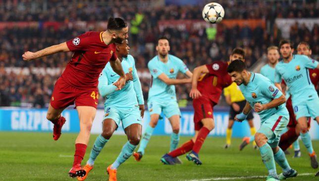 Kostas Manolas heads home the goal to knock Barcelona out