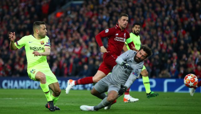 Alisson saves from Alba
