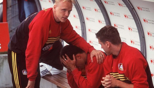 Michael Ballack weeps on the bench in 2000