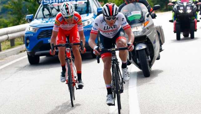 Conti and Fausto Masnada (l) broke away in the final kilometres.