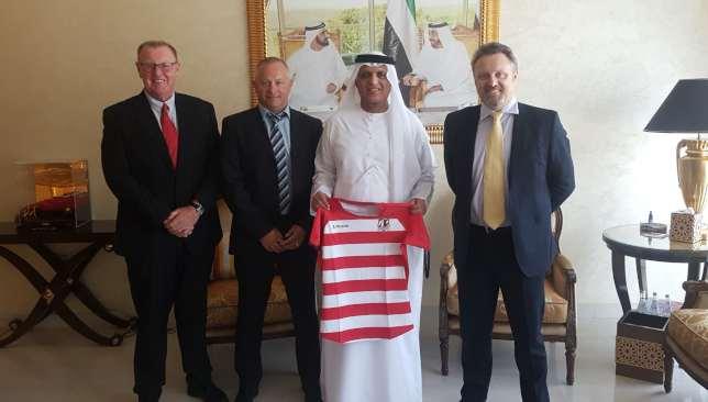 Williams (r) with ruler of RAK Sheikh Saud (2nd r).