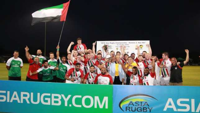The UAE celebrate their return to the ARC's Division I.