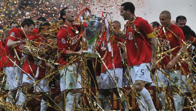 Manchester United players celebrate their win over Chelsea in 2008 - the last and only time two English sides met in the Champions League final.