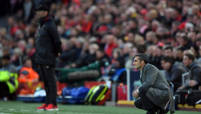 Valverde could only watch in horror at Anfield.