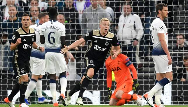 Van de Beek's early goal sealed a 1-0 win for Ajax.