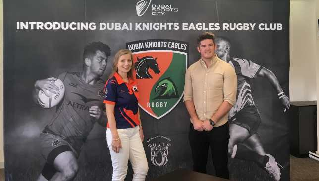 Knights Eagles chairperson Louise Palmer and director of rugby Sean Carey.