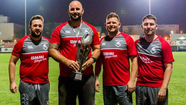 Louie Tonkin (2nd l) heads to Exeter Chiefs having turned Bahrain into a Gulf rugby superpower.