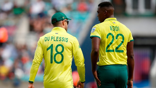 Ngidi left the field with an injury after bowling just four overs.