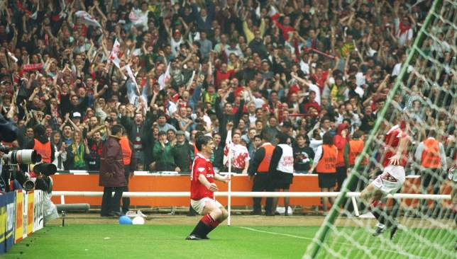 Mark Hughes celebrates his goal in the 4-0 FA Cup final win over Chelsea in 1994.
