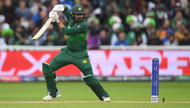 BIRMINGHAM, ENGLAND - JUNE 26: Haris Sohail of Pakistan plays a shot during the Group Stage match of the ICC Cricket World Cup 2019 between New Zealand and Pakistan at Edgbaston on June 26, 2019 in Birmingham, England. (Photo by Alex Davidson/Getty Images)
