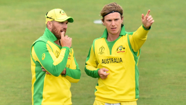 Aaron Finch (l) and Adam Zampa.