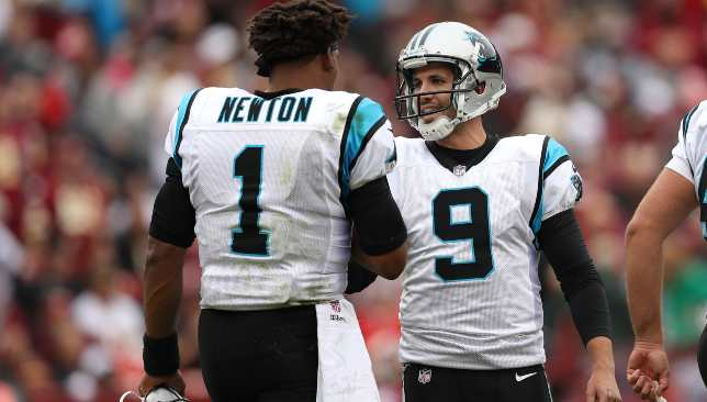 Panthers kicker Graham Gano with quarterback Cam Newton.