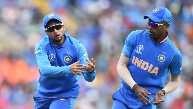 Pandya (r) picked up more wickets than Kuldeep (l).