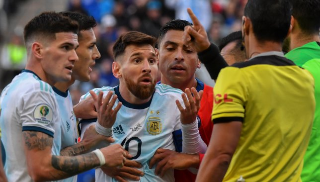 Lionel Messi was sent off in his last game - the third-place play-off against Chile at the Copa America.