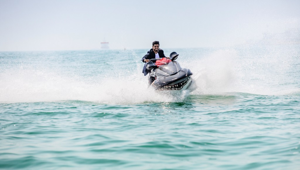Riding the waves: Rayan Al Ahmar accepted the jetski challenge