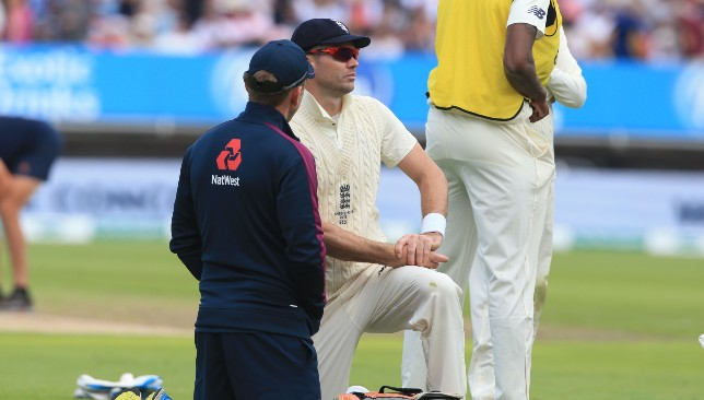 James Anderson bowled just four overs before leaving the field.