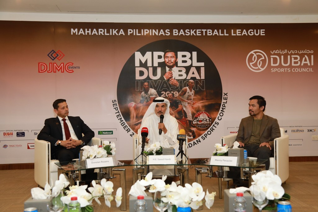 Answering questions: The boxing hero held a press conference in Dubai