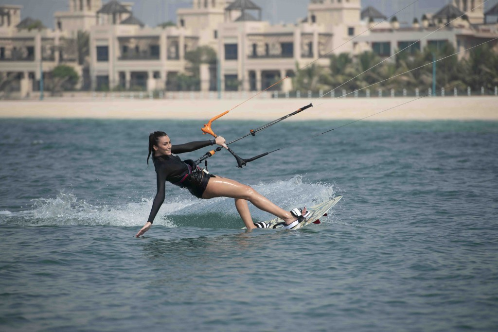 Taking to the water: Kite surfers showed off their skills
