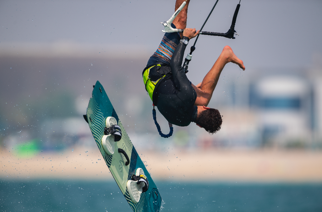 Strong technique: A kite surfer wears Breathing's Superocean Automatic 42, Steel-White