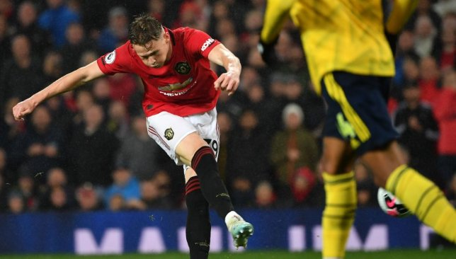 Captain material? McTominay scored a sumptuous opener against Arsenal.