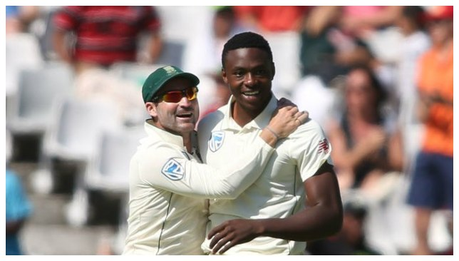 Rabada picked up two wickets in his opening spell. (Image -ICC/Twitter)