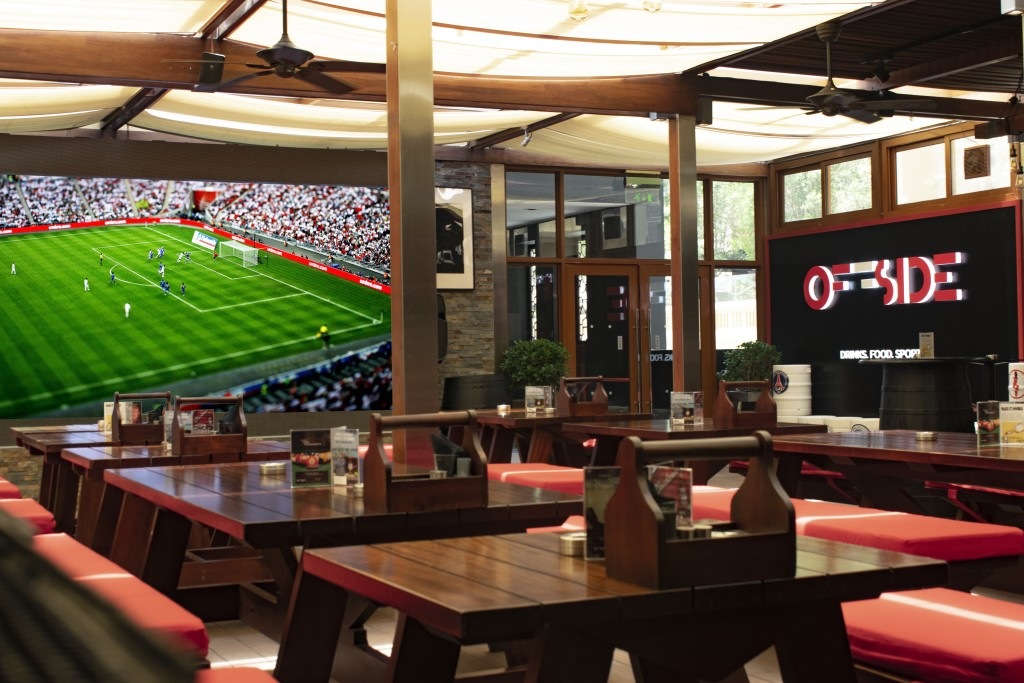 Super view: Offside Bar has a huge screen to watch the action