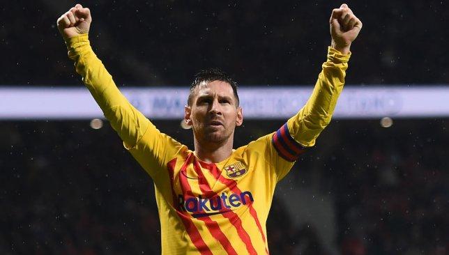 Messi célèbre après avoir marqué le vainqueur contre l'Atletico