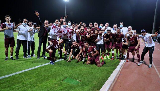 Al Faisaly celebrate their win against Al Ahli Jeddah (Twitter/@AlFaisaly).