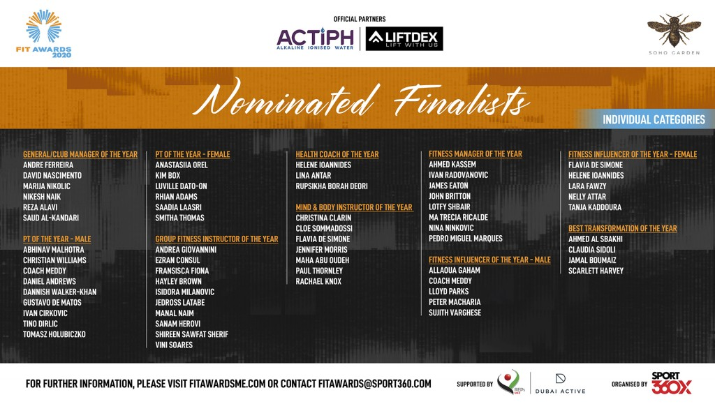 Finalists: Individuals will battle it out to be crowned winners