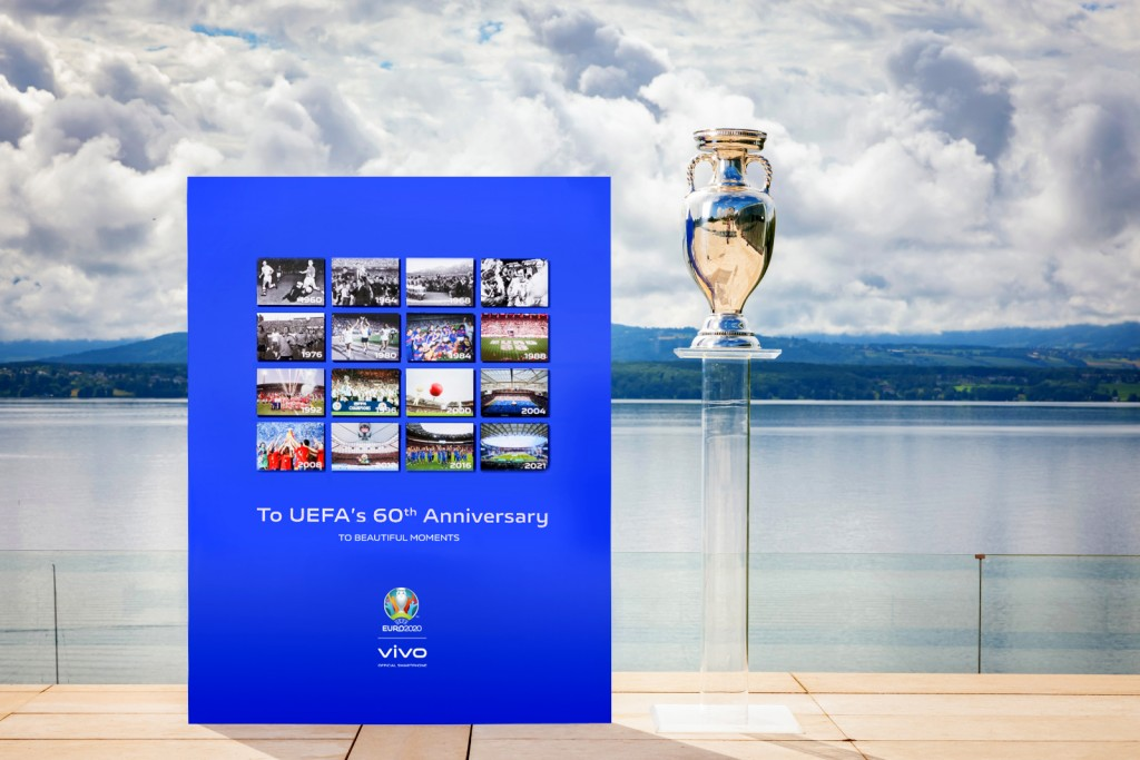 vivo HQ: A backdrop view of the 60th anniversary of UEFA EURO created by VIVO at UEFA headquarters
