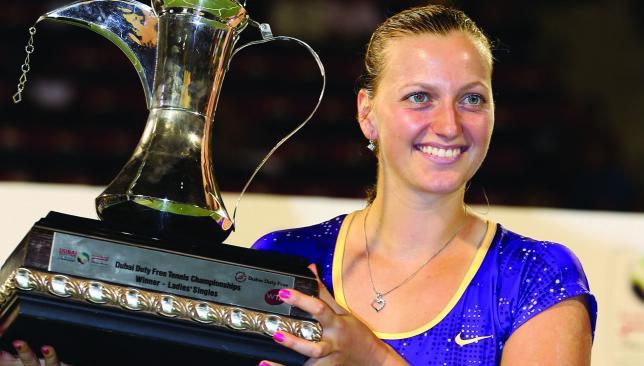 On top: Kvitova beat Sara Errani to win in Dubai in 2013.