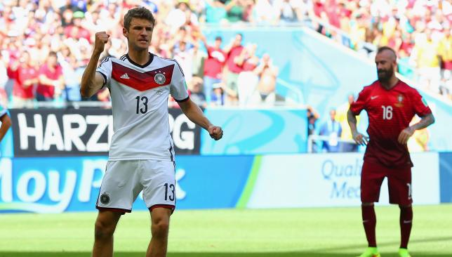Hat-trick hero: Müller scored three goals to lead Germany's rout of Portugal.