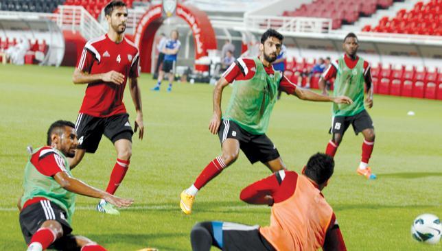 Putting the work in: The UAE team train.