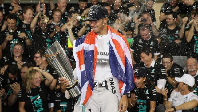 Winner: Lewis Hamilton revels in title-winning performance.